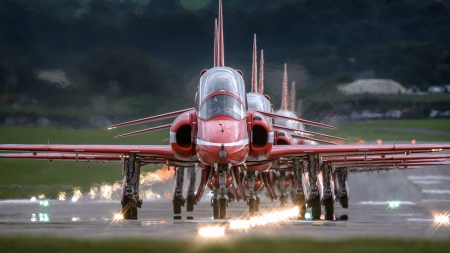 British Red Arrows Team - red, military, brititsh, aircraft