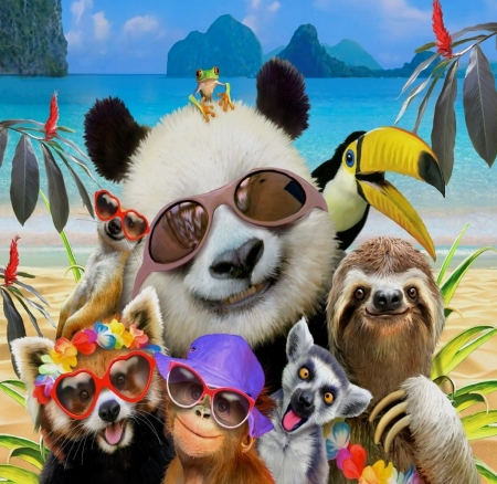 Selfie - sloth, luminos, toucan, selfie, animal, panda, sunglasses, beach, fantasy, vara, bird, summer, funny, howard robinson