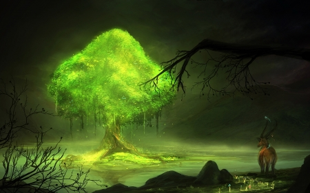 Tree of everlasting - verde, luminos, year, copac, tree, fantasy, goat, green, jeff michelmann