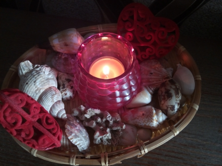 Candel light with  sea shells - Candel, seashell, romantic, hearts