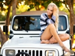 Model Posing on a Jeep