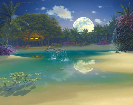 Dolphin Moonlight - moons, love four seasons, attractions in dreams, Dolphin Moonlight, resorts, paintings, beaches, dolphins, summer, nature, cabins