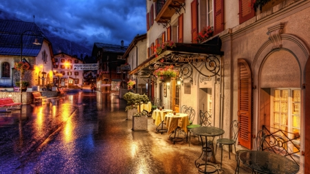 Romantic Evening - colorful, tables, refection, town, clouds, sky, chairs, flowers, night