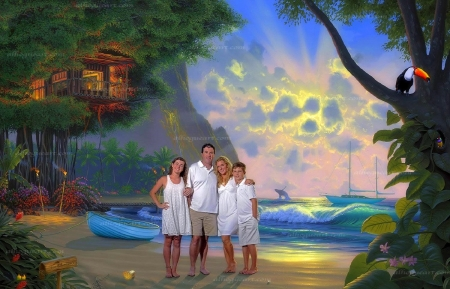 Paradise with Family - family, house tree, love four seasons, attractions in dreams, sea, boat, paintings, paradise, beaches, summer, seaside, nature