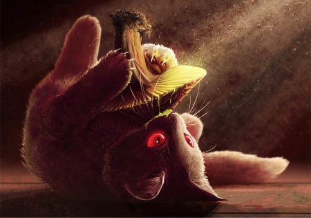 Fantasy kitten - fantasy, mushroom, cat, kitten, spitfire, red eyes, pisica