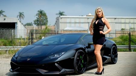 Model And Lamborghini In Black Lamborghini Cars Background