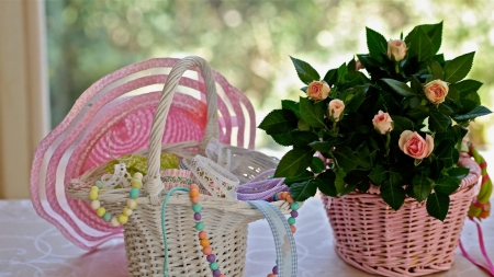 Happy Mothers Day - table, still life, bokeh, window, basket, lace, beads, roses