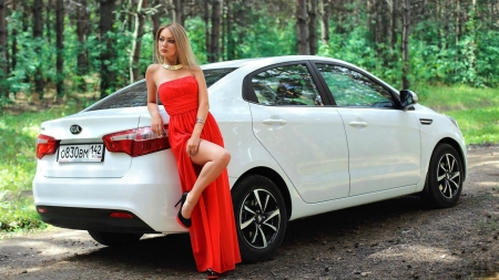Model Posing with a Kia - red, kia, model, car, gown, blonde