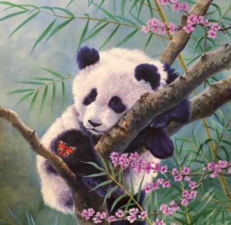 Panda cub - art, luminos, abraham hunter, bear, spring, panda, cute, tree, painting, cub, flower, pictura, pink