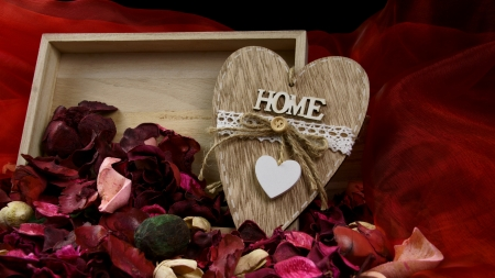 Home is where... - ribbon, heart, home, box, petals, country, roses
