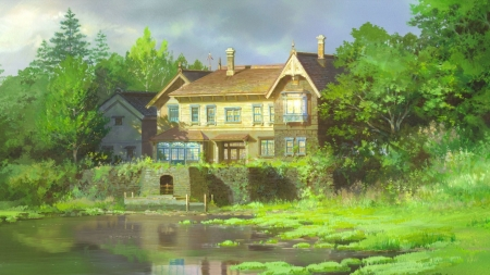 When Marnie Was There - house, movie, ghibli, film, lake, anime, nature, scenery, marnie