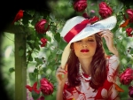 La Femme Headdress Red And White Summer