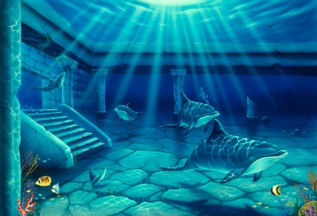 Atlantis - whales, underwater, sunrays, fishes, stairs