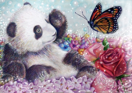 ♥ - panda, cute, art, butterfly, rose, flower, cub, pink