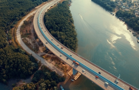 Bridge over the river - architecture, quality, traffic, water, photography, bridge, aerial, reflection, road