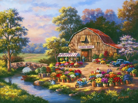 Flower market - art, house, cottage, creek, beautiful, picturesque, market, countryside, flowers, peaceful, painting, summer