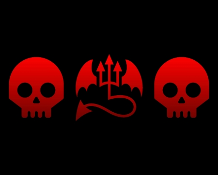 evil skulls and wings - red, skulls, gizzzi, wings, black, evil, labrano, skull
