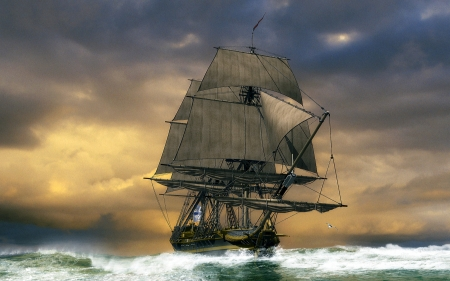 Tall Ship - clouds, ship, ocean, sail