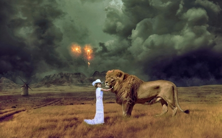 Cowgirl And Lion - Cowgirl, Hat, Fire, Lion, Windmill