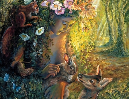 Mother Nature - forest, art, rabbit, girl, squirrels, flowers, trees, deer