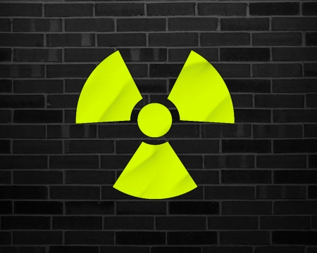 nuclear - radioactive, gizzzi, nuclear, brick, black, yellow, labrano, wall