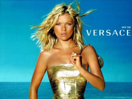 Versace - topmodel, vogue, ocean, versace, gold, kate moss, beauty, fashion, blue
