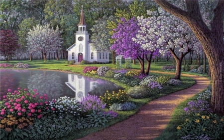Little white church flowers and pond forests nature background little white church flowers and pond mightylinksfo