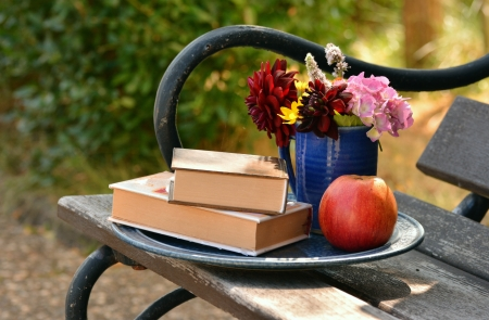 Time for relaxation - apple, quality, books, vase, bench, park, abstract, photography, garden, flowers, relaxation