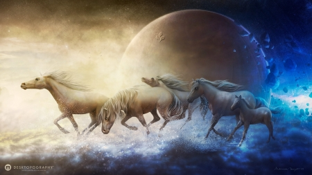 Away from the chaos - luna, luminos, horse, desktopography, fantasy, moon, white, chaos, blue