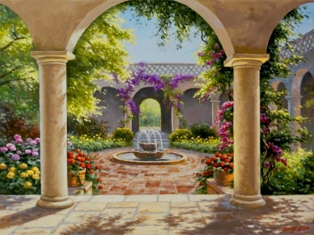 Wisteria garden - art, fountain, Sung Kim, beautiful, wisteria, arch, paradise, painting, garden