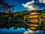 Japanese Temple Lake Reflection