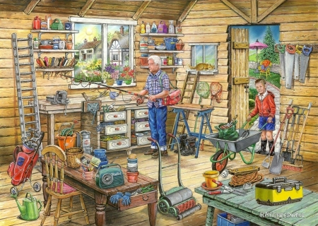 Fred's Shed - cottage, cart, artwork, boy, radio, painting, garden, flowers, tools, workshop