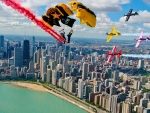 Parachutists and Planes over Chicago