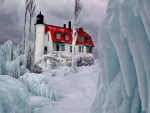 Michigan Lighthouses in Winter