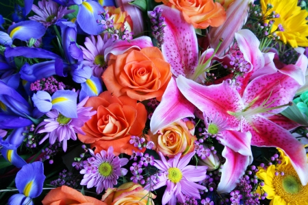 Colorful beauty - colorful, lilies, mix, spring, roses, bouquet, macro, beauty, summer, flowers, iris