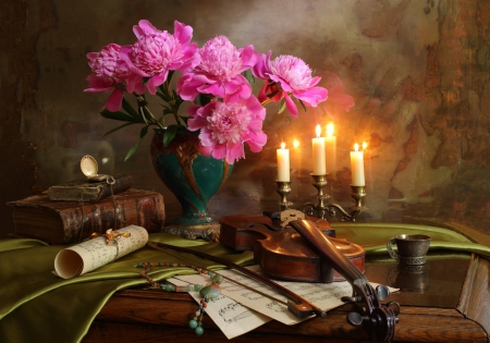 Pirates Study - books, notes, book, bow, peonies, watch, jug, note, flowers, scroll, candle, violin, necklace, lit candles, candle sticks, candles, bouquet, timepiece, Pirates Study