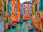 Boats In Colorful Town