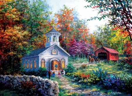 Church After the Bridge - bridge, buggy, covered, painting, puzzle, church