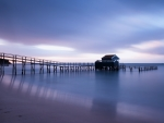 Wooden Dock on Water Under White Clouds