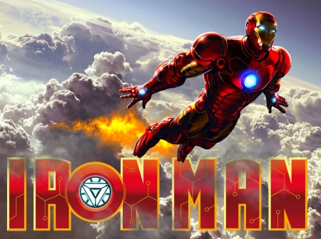 Iron man - robert downey jr, mavel, iron man, avangers, movie, superhero, clouds