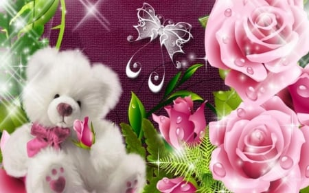 Teddy Bear And Roses Flowers Nature Background Wallpapers On