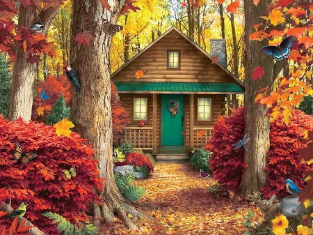 Hidden Retreat - fall, autumn, retreat, woods, birds, butterflies, cabin, hidden