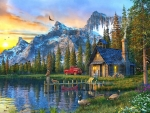 Log Cabin at Sunset