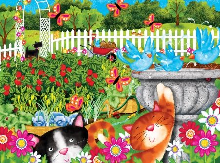 Garden Play Time - whimsical, birds, cat, puzle, childerns