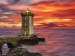 Lighthouse of Kermorvan at Sunset,France