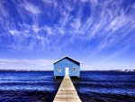 Blue Boat House On Matida  Bay Australia