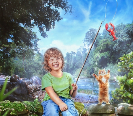 Fishing - luminos, fish, fisher, creative, cat, cute, boy, fantasy, summer, tatyanache, pisica
