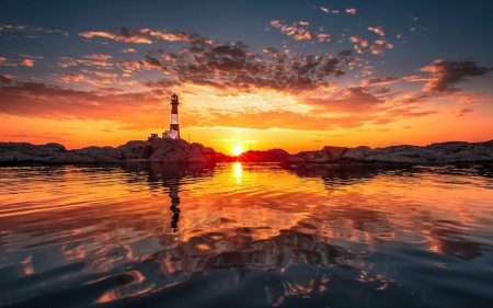 Lighthouse in the Sunset (Rogaland, Norway) - Nature, sea, sunset, sky, clouds, lighthouse, norway, reflection
