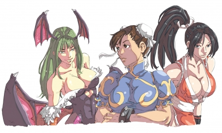 Capcom vs Snk Team Girls - Capcom, Mai, Chun Li, Morrigan