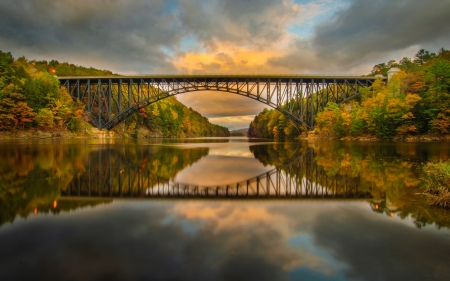 Railway Bridge Across the River - forest, autumn, bridge, nature, river, reflected, trees, sky